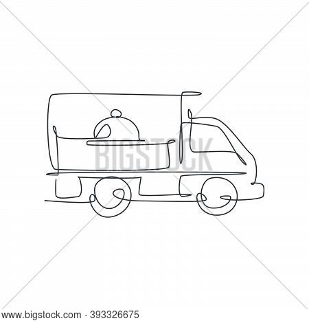 One Continuous Line Drawing Of Box Car With Tray Cover Cloche For Food Delivery Service Logo Emblem.