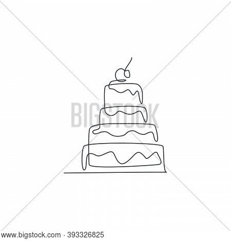 Single Continuous Line Drawing Of Stylized Pilled Anniversary Cake With Cherry Fruit Topping Art. Pa