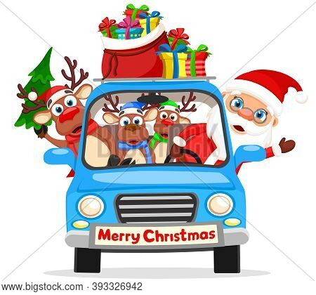 Santa Claus And Reindeer Are Driving A Car With A Bag Of Gifts And A Christmas Tree. Merry Christmas