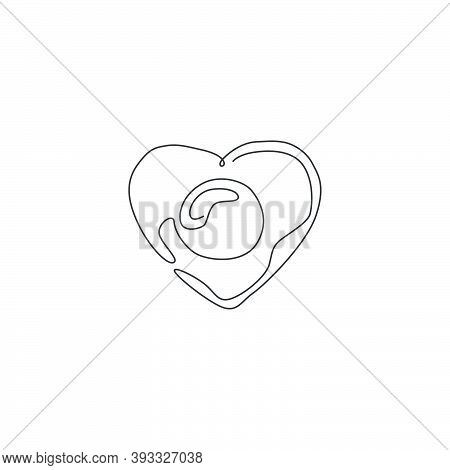 One Single Line Drawing Of Fresh Sunny Side Up Egg With Love Shape Logo Vector Illustration. Breakfa