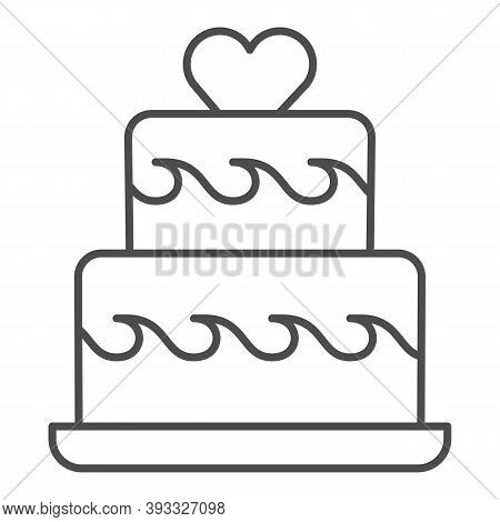 Two Tiered Cake With Heart Thin Line Icon, Birthday Cupcake Concept, Wedding Cake Sign On White Back