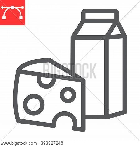 Dairy Line Icon, Milk And Cheese, Dairy Sign Vector Graphics, Editable Stroke Linear Icon, Eps 10.