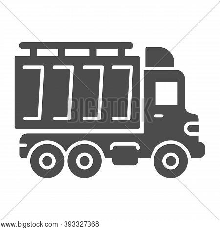 Truck Solid Icon, Heavy Equipment Concept, Dump Vehicle Sign On White Background, Heavy Duty Dump Tr