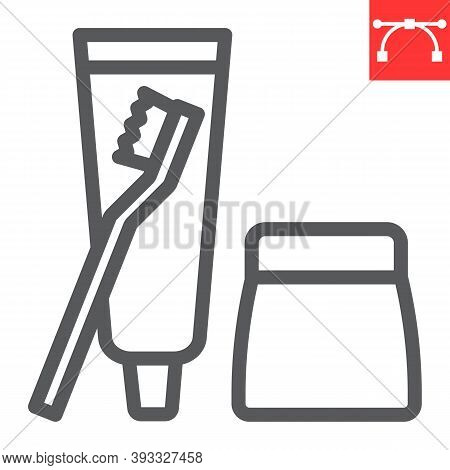 Toiletries Line Icon, Toothbrush And Toothpaste, Toiletries Sign Vector Graphics, Editable Stroke Li