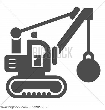Excavator With Ball To Destroy Buildings Solid Icon, Heavy Equipment Concept, Crane With Wrecking Ba