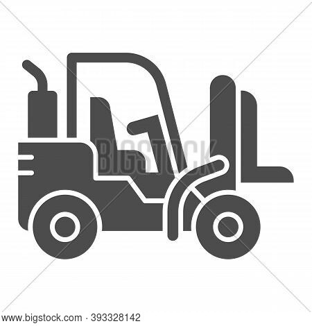 Loader Solid Icon, Heavy Equipment Concept, Fork Lift Sign On White Background, Forklift Loader Icon