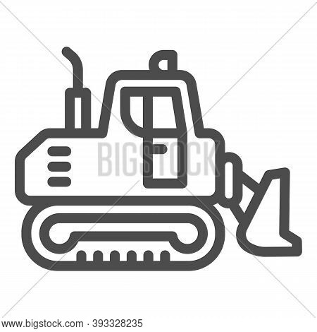 Excavator With Scoop Line Icon, Heavy Equipment Concept, Earth Heavy Digger Sign On White Background