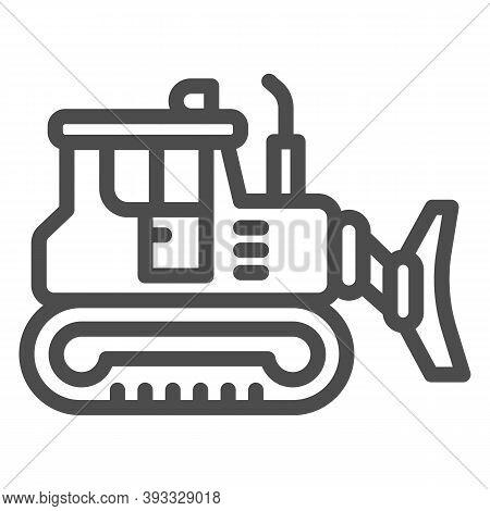 Excavator Line Icon, Heavy Equipment Concept, Backhoe Sign On White Background, Excavator With Scoop