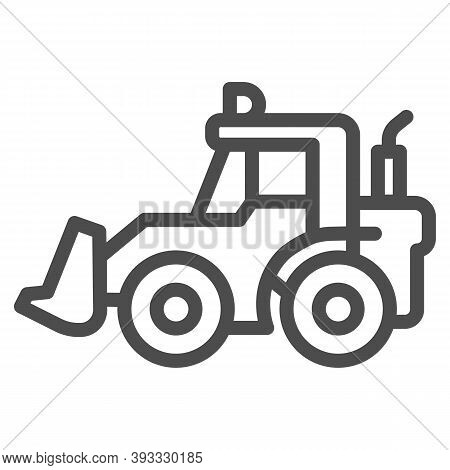 Tractor With Bucket Line Icon, Heavy Equipment Concept, Backhoe Sign On White Background, Backhoe Lo