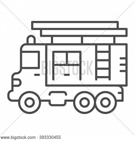 Fire Truck With Ladder Thin Line Icon, Heavy Equipment Concept, Firetruck Sign On White Background,