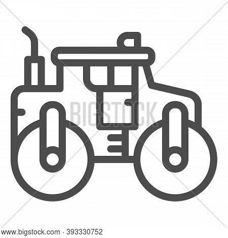 Asphalt Roller Line Icon, Heavy Equipment Concept, Steamroller Truck Sign On White Background, Road