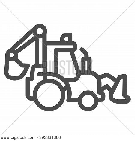 Tractor With Bucket Line Icon, Heavy Equipment Concept, Backhoe Sign On White Background, Excavating