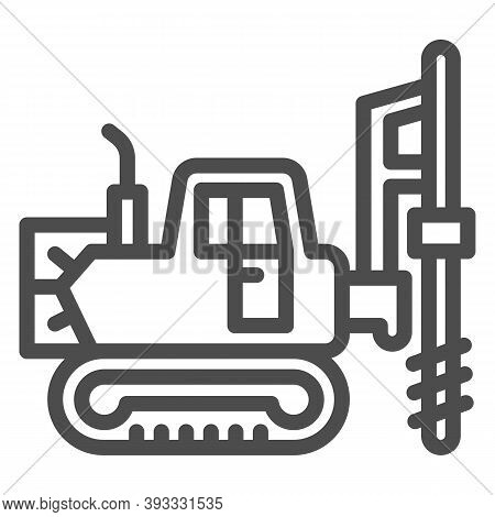 Large Excavator With Drill Line Icon, Heavy Equipment Concept, Excavator With Hydraulic Hammer Sign