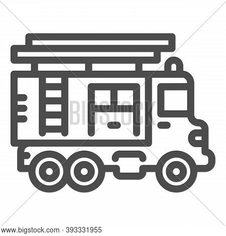 Fire Truck With Ladder Line Icon, Heavy Equipment Concept, Firetruck Sign On White Background, Fire