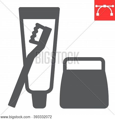 Toiletries Glyph Icon, Toothbrush And Toothpaste, Toiletries Sign Vector Graphics, Editable Stroke S