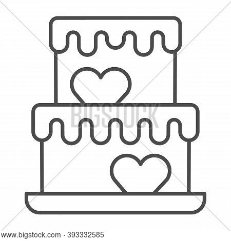 Two Tiered Cake With Hearts Thin Line Icon, Birthday Cupcake Concept, Wedding Cake Sign On White Bac