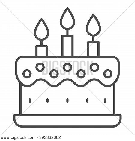 Cream Cake With Candles Thin Line Icon, Birthday Cupcake Concept, Dessert With Three Candles Sign On