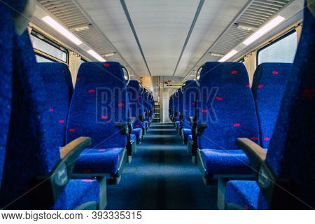 Tel Aviv Israel November 04, 2020 Inside A Traditional Red Israeli Train At Tel Aviv Azrieli Railway