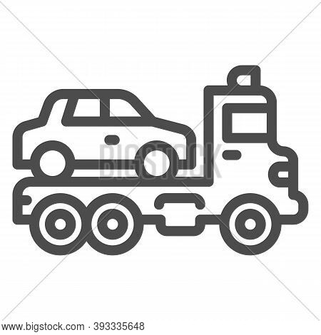 Tow Truck With Car Line Icon, Heavy Equipment Concept, Evacuator Car Sign On White Background, Car T