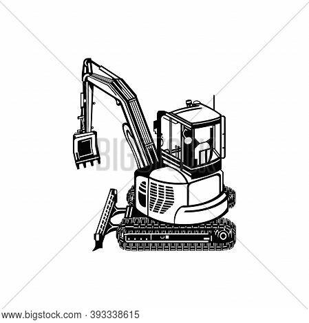 Mini Excavator Dig Digger Machine Equipment - Construction Vehicle - Builder Building Build Fix Logo