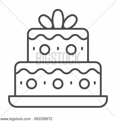 Two Tiered Birthday Cake Thin Line Icon, Birthday Cupcake Concept, Holiday Cake Sign On White Backgr