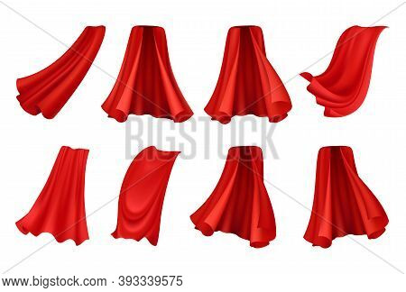 Red Cloak Realistic Set With Isolated Icons Of Festive Royal Robes From Angles On Blank Background V