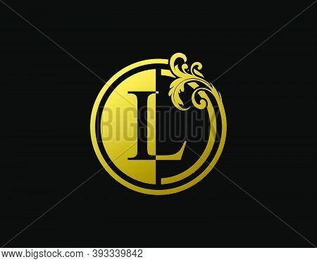 Luxury Circle L Letter Floral Logo. Vintage Gold L Swirl Logo Icon.