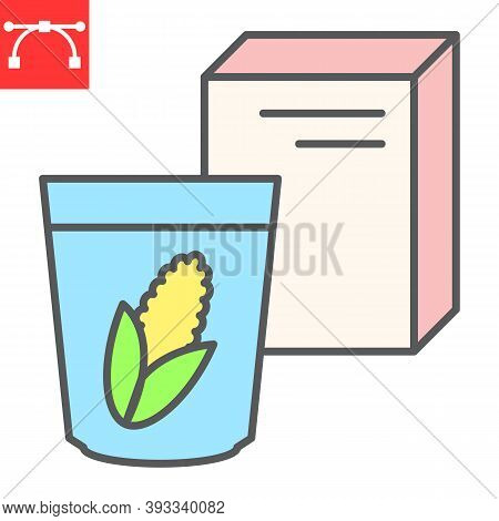 Breakfast Cereal Color Line Icon, Corn And Cereals, Cereal Box Sign Vector Graphics, Editable Stroke