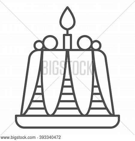 Pudding With Candle Thin Line Icon, Bakery Concept, Birthday Cupcake Sign On White Background, Delic