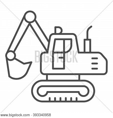 Crawler Excavator Thin Line Icon, Heavy Equipment Concept, Hydraulic Excavator Truck Sign On White B