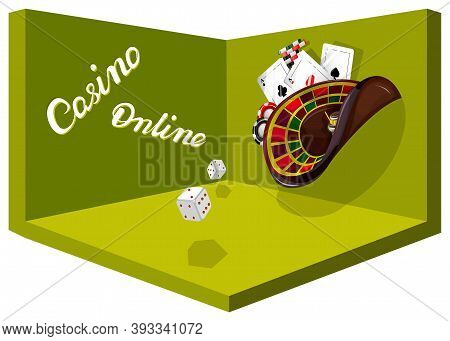 Vector Conceptual Image For A Gambling Establishment.  Сards, Poker Chips, Roulette Seem To Float In