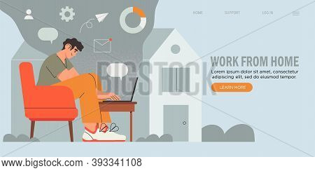 Young Business Man, Programmer, Creative Outsourced Employee Sitting On Chair Working On Laptop. Fre