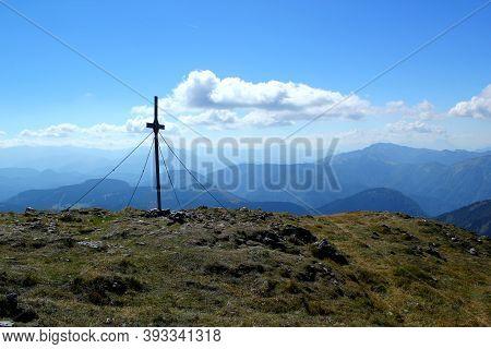 Beautiful Day On The Peak: Summit Cross On Otscher / Oetscher (1893m) In Lower Austria
