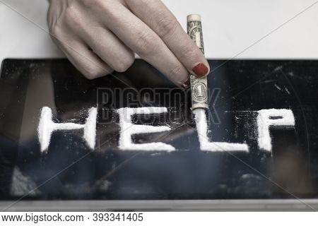 Photo Of A Call For Help, Made On A Dark Shiny Surface, Written By A Cocaine Addicted Girl, Using Co