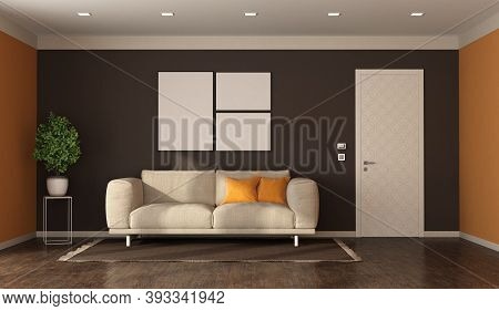Living Room In Modern Style, Fabric Sofa And Closed Door With Decorated Panel - 3d Rendering