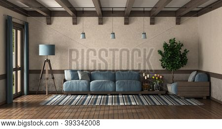 Retro Style Living Room With Wooden Sofa With Blue Cushion - 3d Rendering
