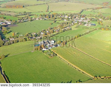 Aerial View Of The Fields And Hills At Monks Down In Wiltshire
