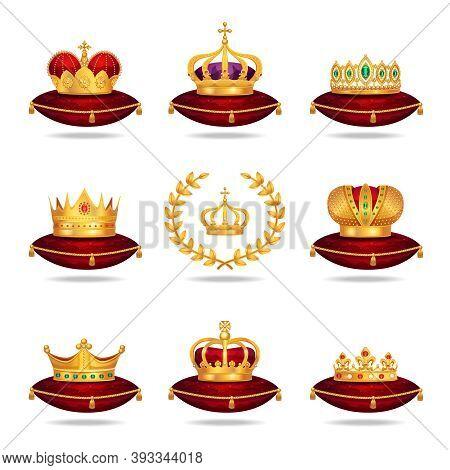 King Queen Red Gold Crown Tiara On Velvet Silk Cushion Pillow Royal Regalia Realistic Set Vector Ill