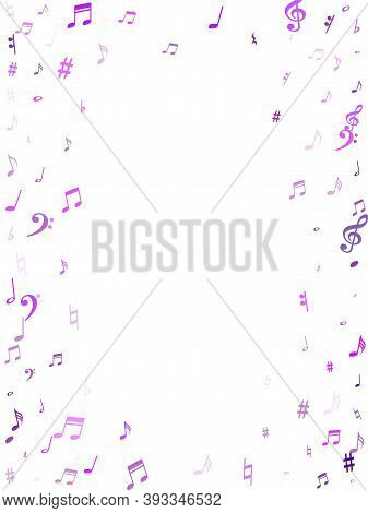 Red Flying Musical Notes Isolated On White Background. Magenta Musical Notation Symphony Signs, Note