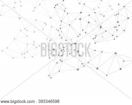 Geometric Plexus Structure Cybernetic Concept. Network Nodes Greyscale Plexus Background. Genetic En