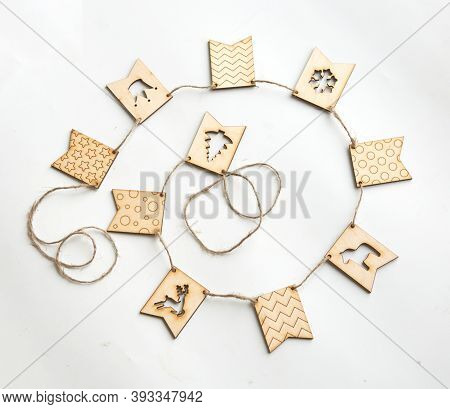 Christmas Decoration Wood On White. Ornaments Christmas Decoration Wood Set.