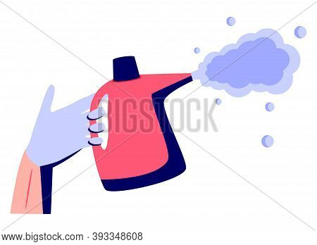 Prevention Concept. Disinfection And Cleaning. A Man In Chemical Protection Disinfects. Methods Of C
