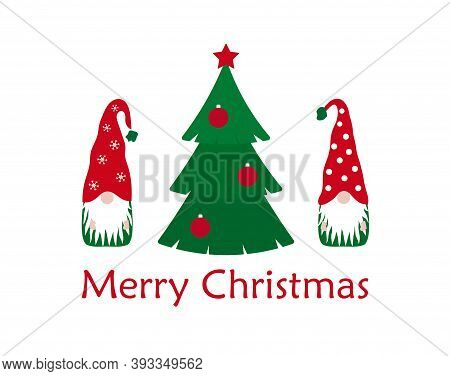 Vector Merry Christmas Greeting Card With Gnomes And Xmas Tree Isolated On White Background. Cute Po