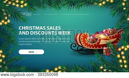 Christmas Sales And Discount Week, Green Banner With Garland Of Pine Branches With Yellow Garland An