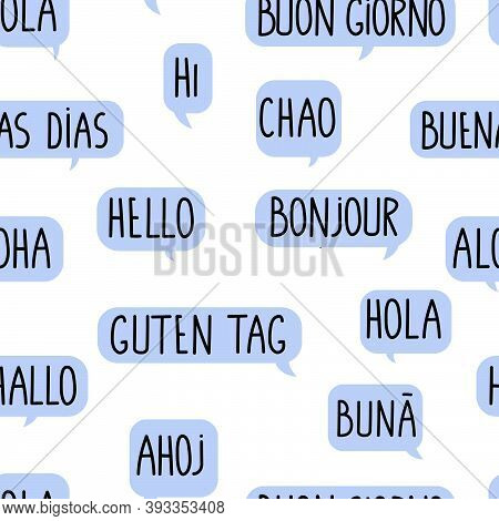 Seamless Pattern With The Word Hello In Different Languages. Blue Doodle Speech Bubble.