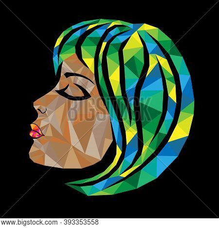 Mosaic Face Of A Beautiful Woman With Closed Eyes And Hair In Yellow, Green And Blue Hues Isolated O