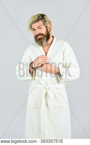 Enjoying His Morning. Handsome Guy At The Morning. Bearded Man Wear White Terry Bathrobe Sleeping In