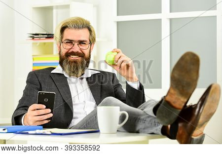 Office Job. Successful Man Entrepreneur Formal Business Suit Sitting Office Interior. Brainstorming.