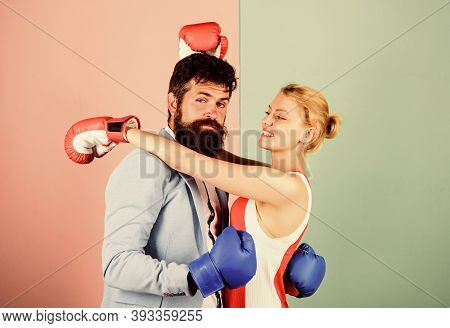 Fight For Love. Strength And Power. Bearded Man Hipster Fighting With Woman. Family Couple Boxing Gl