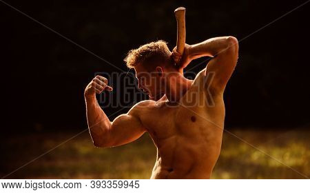 His Body Is Perfect. Woodsman With Axe In Hand. Muscular Man With Axe. Sexy Macho Bare Belly Ax. Bod